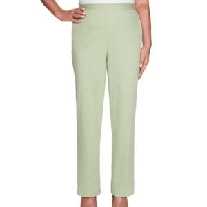 Alfred Dunner Pants Pull On Elastic Green
